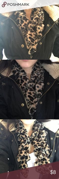 cheetah scarf only worn a couple times, i usually would wear it under jackets to keep me warm, very soft in perfect condition Accessories Scarves & Wraps