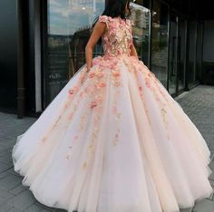 Buy Princess Ball Gown Pink Tulle Prom Dresses with Handmade Flowers, Quinceanera Dress online.Shop short long ombre prom, homecoming, bridesmaid evening dresses at Couture Candy Cocktail party dresses, formal ball gowns in ombre colors. Floral Prom Dresses, Pretty Quinceanera Dresses, Tulle Prom Dress, Lace Evening Dresses, Wedding Dresses, Quince Dresses, Pretty Dresses, Ball Gowns Prom, Pageant Dresses