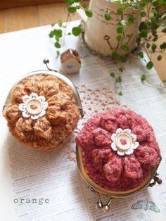 crochet tweed flower purse