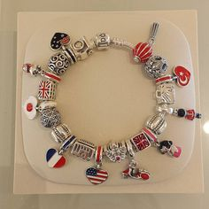 Design your own photo charms compatible with your pandora bracelets. Flag separated by point of interest. Pandora Travel Charms, Pandora Jewelry Box, Pandora Beads, Pandora Bracelet Charms, Pandora Rings, Charm Bracelets, Pandora Collection, Bracelet Designs, Dream Ring