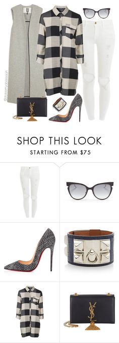 """Untitled #1724"" by dnicoleg ❤ liked on Polyvore featuring Frame Denim, Fendi, Christian Louboutin, Hermès, Topshop and Yves Saint Laurent"