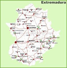 Extremadura road map Portugal, Maps, Road Maps, Cards, Blue Prints, Map