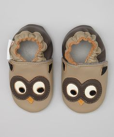 Love this MOMO Baby Taupe Owl Leather Booties by MOMO Baby on #zulily! #zulilyfinds