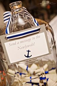 Nautical Guest Book Alternative- How cute is this idea? A destination wedding on an island or aboard a cruise ship. The guests could even put money in the jar instead of messages for the bride and groom. http://2744.mtravel.com/romantic-travel   Let us help you plan your destination wedding!