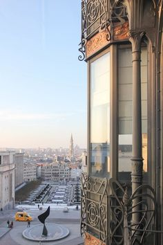 The Mont des Arts, a square with multiple museums, as seen from the Museum of Musical Instruments, the famous art nouveau Old England house in Brussels, Belgium