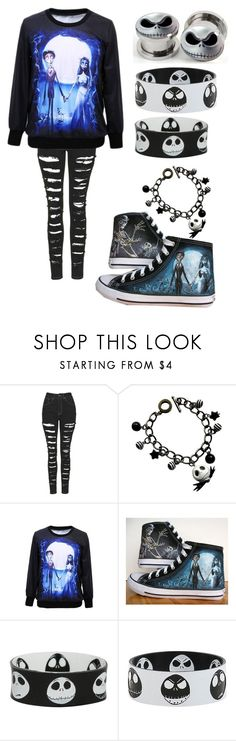 """""""Jack Skelington"""" by topmcrpatdfob ❤ liked on Polyvore featuring The Ragged Priest, Converse and Hot Topic"""