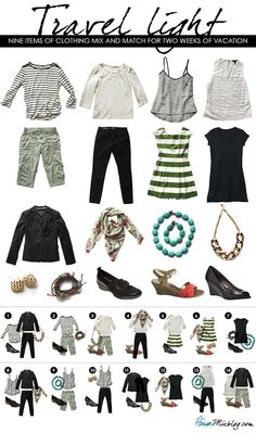Packing -- Light packing travel outfits for spring and summer travel. Nine items of clothing mix and match for two weeks of vacation. Travel Capsule, Travel Wear, Travel Style, Travel Fashion, Travel Wardrobe, Capsule Wardrobe, Packing Tips For Travel, Packing Ideas, Packing Outfits