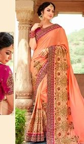 Peach Color Embroidered Chiffon Silk Sari #designersareeschennai#designersareeblouse Design and style and trend could be on peak of your elegance after you dresses this peach color embroidered chiffon silk sari. The amazing attire creates a dramatic canvas with astounding lace, patch and resham work. Upon request we can make round front/back neck and short 6 inches sleeves regular saree blouse also. USD$ 228(Around £ 157 & Euro 173)