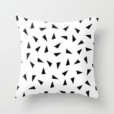 16x16 18x18 20x20 Decorative Pillow Cover: Black Triangles, Ethnic, Black and White, Nordic, Modern, Minimalist, Scandinavian, Cushion