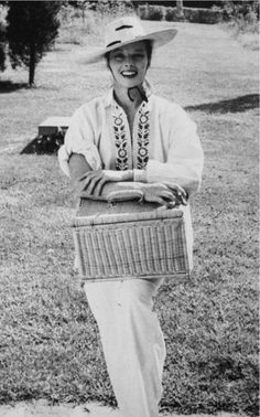 """It's Katharine!   """"Once I asked Katharine Hepburn to come up from her place at Fenwick, a few miles away, and pose for some fashion photos for me. She arrived with a picnic hamper full of food and wine for the two of us. I snapped her just as she came to the door."""" - Photographer Jerome Zerbe"""