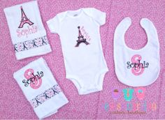 Eiffel Tower Baby Gift Set - Girly Gift Set -Personalized Onesie - Personalized Bib - Personalized Burp Cloths on Etsy, $45.00