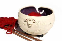 White Sheep Shaped Ceramic Yarn Bowl w purple insides