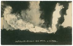 Title:  Mitchell Jones Oil Well on Fire  Date: ca. 1920s  Part Of: Collection of real photographic postcards of Texas  Place: Corsicana, Navarro County, Texas  Physical Description: 1 photographic print (postcard)  File: ag2005_0001_03_070_c_corsicana_opt  Rights: This item may be protected by copyright law. Please cite the DeGolyer Library, Southern Methodist University as the source of this file. For more information contact degolyer@smu.edu.  For more information, see…