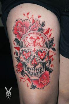 Kati Berinkey - muerte skull - FINE HEART CUSTOM INK https://www.facebook.com/FineHeartCustomInk