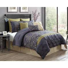 Victoria Classics Prairie 9-Piece Comforter Set ($100) ❤ liked on Polyvore featuring home, bed & bath, bedding, comforters, colorful queen comforter sets, king bedding, king size shams, king shams e polyester comforter