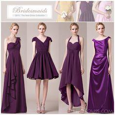 Various styles of chic grape bridesmaid dresses.