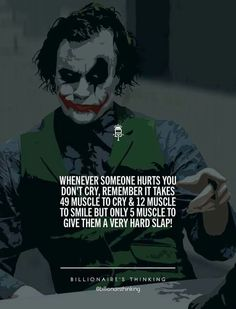 33 Joker Quotes to fill you with Craziness. Swag Quotes, Boy Quotes, Wise Quotes, Attitude Quotes, Words Quotes, Inspirational Quotes, Qoutes, Sayings, Heath Ledger Joker Quotes