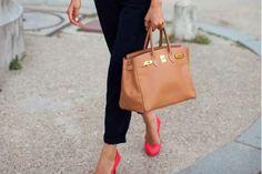 | slim-cut cropped pants, pink heels & Birkin bag
