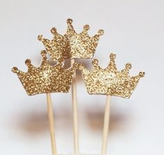 Set of 24 Gold Glitter Crown Cupcake Toppers,Wedding Picks,Party Picks,Food Pick Crown Cupcake Toppers, Wedding Cupcake Toppers, Baby Shower Cupcake Toppers, Wedding Topper, Cupcake Picks, Cake Wedding, Party Wedding, Gold Wedding, Fiesta Baby Shower