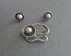 Maxwell Chayat Sterling Brooch & Earrings