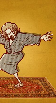 Movie Poster The dude The Big Lebowski Yoga A2 Poster by suPmon