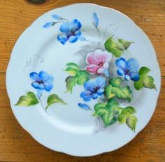 Kasuga-Floral-Plate-Birthday-Series-MORNING-GLORY-Hand-Painted-SEPTEMBER-9