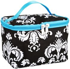 Black and Multicolor Damask Floral Print Cosmetic Makeup Case-blue * Special  product just for you. See it now! : Travel cosmetic bag