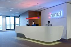 Brunel is an international recruitment agency.  Rotterdam office: Interior design (+corporate identity) and project management by Heyligers design+projects. www.h-dp.nl  receptiebalie, reception desk