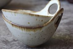 Set of 2 Pottery Bowls Rust Rim Speckle White by FringeandFettle