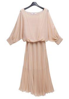 Pink Ruffle Bat Sleeve Skinny Chiffon Dress