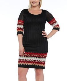 Another great find on #zulily! Black Zigzag-Trim Bodycon Dress - Plus #zulilyfinds