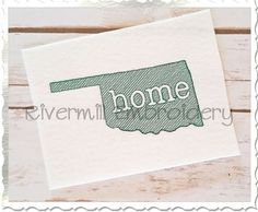 Sketch Style Oklahoma Home Machine by RivermillEmbroidery on Etsy