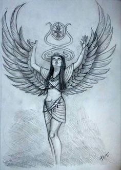 Isis, Egyptian Goddess of Magic by on DeviantArt Egyptian Goddess Tattoo, Egyptian Tattoo Sleeve, Isis Goddess, Goddess Art, Osiris Tattoo, Bastet Tattoo, Cleopatra Tattoo, Egyptian Drawings, Wings Drawing