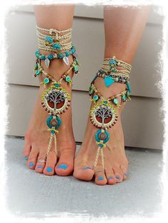 Beaded Yggdrasil TREE of life BAREFOOT SANDALS Turquoise Stone Luxurious Leather foot jewelry crochet sandal Earthy Garden Wedding GPyoga