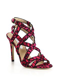Diane Von Furstenberg Sandals.  Black and hot pink satin straps and covered heel.  Pattern is a plethora of lips.  Made in Italy.