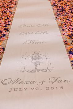 Beauty and the Beast inspired ceremony aisle runner at Disney's Wedding Pavilion