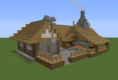 minecraft building ideas Medieval Colonial Blacksmith - GrabCraft - Your number one source for MineCraft buildings, blueprints, tips, ideas, floorplans! Minecraft Medieval Village, Minecraft Castle, Cool Minecraft Houses, Minecraft Crafts, Minecraft Designs, Minecraft Buildings, Minecraft Stuff, Minecraft Building Blueprints, Minecraft Plans