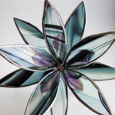 3D Stained Glass Suncatcher - In Full Bloom Iridescent Black Flower. $38.00, via Etsy.