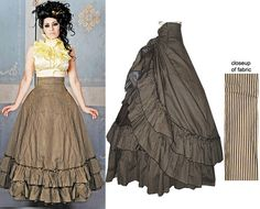 New Retroscope Fashions Tan Stripe Victorian Long Bustle Skirt & Sleeveless Top