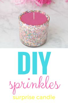 diy candle, diy sprinkles candle, diy jewelry candle, diy valentine's day candle, diy birthday sprinkles candle