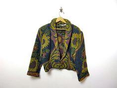 vintage sunflower jacket blazer by dirtybirdiesvintage on Etsy, $28.00