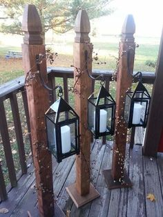 Love these lantern holders! You could use solar lights or these - and you could dress them up for any time of year! (Diy Projects Rustic) #PrimitiveDecor