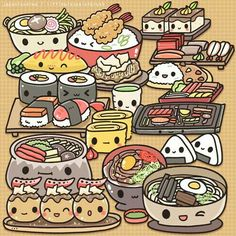 Food, sushi, ramen, onigiri, rice balls, udon, karaage, tempura, curry rice, omelet, takoyaki; Kawaii
