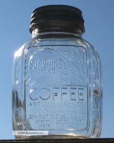 Vintage Sunshine Coffee Jar Springfield Mo Canning Jar Zinc Lid