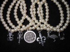 Eight Freshwater Pearl Wedding Cake Pulls with New Orleans and Traditional charms