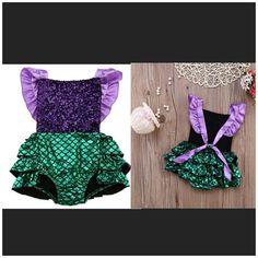The Little Mermaid Inspired Sequin Baby Girl Romper. Made