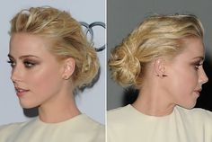 Amber Heard's casual updo is one of the easiest to recreate and works for a variety of hair lengths. From ultra-long to not-quite shoulder-length, this 'do is a fantastic quick styling option. Begin by backcombing tresses a little to create some texture. Also, adding a few soft waves and curls with a large-barreled curling iron will also help add texture. Next, finger comb the hair, tousle with fingertips and pull all the hair back into a low ponytail. Secure with a hair elastic at the…