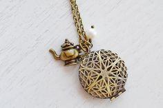 Teapot locket necklace