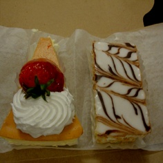 Strawberry Cheesecake and Napoleon from my local Italian Pastry Shop. Yum! :P