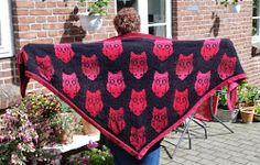 Ugler i mosen / blinking owl shawl